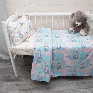 Постельное белье в детскую кроватку из перкаля 13233/1+13234/1 Owls с простыней на резинке 160/80/15