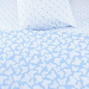 Постельное белье бязь 1792/2-1556/11А голубой/голубой Стандарт 1.5 сп с 1-ой нав. 70/70