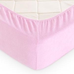 Простынь на резинке махровая цвет розовый 160/200 см