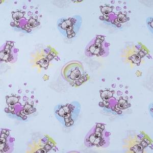 Ткань на отрез бязь 120 гр/м2 детская 150 см 5854/1 Мишка романтик