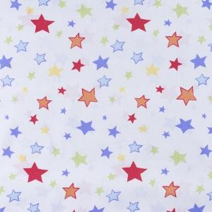 Ткань на отрез бязь 120 гр/м2 детская 150 см 7680 Звездочки цветные