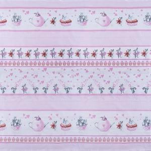 Ткань на отрез бязь 120 гр/м2 детская 150 см 9412 Зайчата цвет розовый