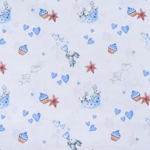 Ткань на отрез бязь 120 гр/м2 детская 150 см 9507 Зайчата цвет голубой (комп.)