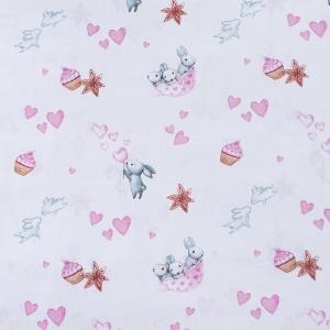 Ткань на отрез бязь 120 гр/м2 детская 150 см 9507 Зайчата цвет розовый (комп.)