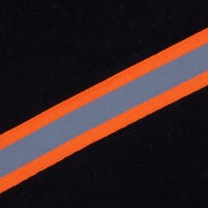 Тесьма со светоотражающей лентой 2,5см оранжевый уп 5 м