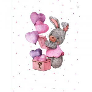 Ткань на отрез перкаль детский 112/150 см 11 Зайка-модница с воздушными шариками