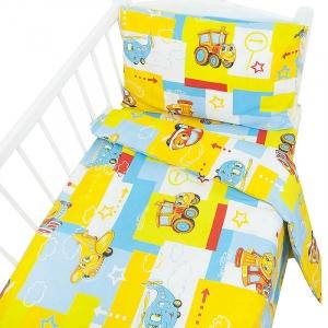 Постельное белье в детскую кроватку 78601 бязь ГОСТ с простыней на резинке