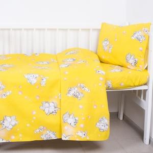 Постельное белье в детскую кроватку из бязи 1285/5 Мамонтенок желтый