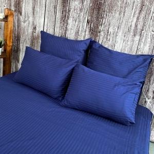 Ткань на отрез страйп сатин полоса 1х1 см 220 см 120 гр/м2 цвет 591/2 темно-синий