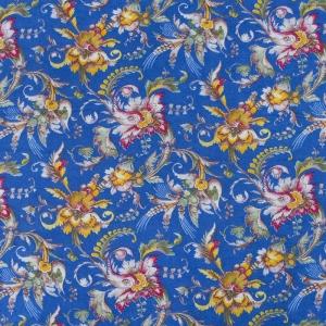 Ткань на отрез фланель 80 см 20104 Цветы на синем