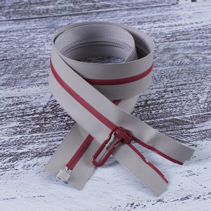 Молния водостойкая №7В4 полоса блеск разъем 60см серый 225/красный 171