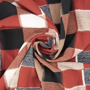 Ткань на отрез супер софт 52646 Квадрат цвет кирпичный