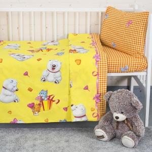 Постельное белье в детскую кроватку из поплина 4662/1 День рождения  с простыней на резинке