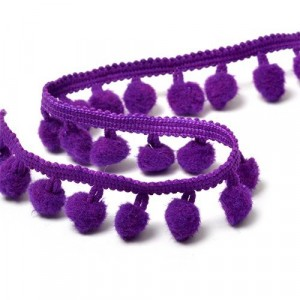 Тесьма с помпонами TBY-LC-20 ширина 15-20 мм (9.14 м) цвет S865 (035) темно-фиолетовый