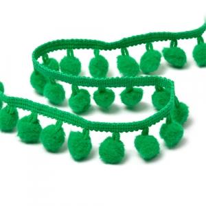 Тесьма с помпонами TBY-LC-20 ширина 15-20 мм (9.14 м) цвет S540 (118) зеленый