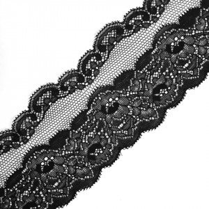 Кружево эластичное  7,5см черный 2267 уп 10 м