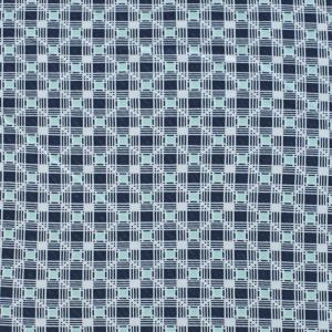 Ткань на отрез кулирка Квадраты 4073-V17 цвет синий