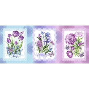 Ткань на отрез вафельное полотно набивное 150 см 20662/1 Аромат весны 1