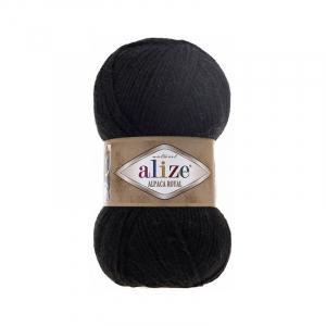 Пряжа ALIZE ALPACA ROYAL 60-черный (15% шерсть 30% альпака 55% акрил)