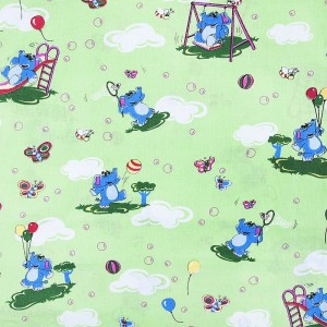 Бязь ГОСТ детская 150 см 315/3 Слоны с шариками цвет зеленый