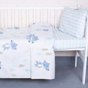 Постельное белье в детскую кроватку 8115 Лисы с простыней на резинке