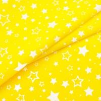 Ткань на отрез бязь плательная 150 см 555/3 Звезды цвет желтый