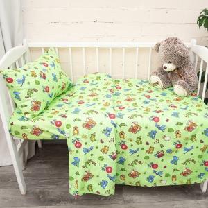 Постельное белье в детскую кроватку из бязи ГОСТ 383/2 Зоопарк цвет зеленый