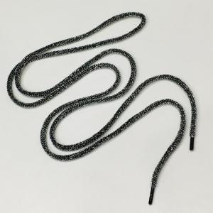 Шнур круглый черный с люрекс серебро 130см уп 2 шт