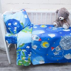 Постельное белье в детскую кроватку из перкаля 13095/1 с простыней на резинке 160/80/15