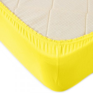 Простыня трикотажная на резинке Премиум М-2021 цвет желтый 140/200/20 см