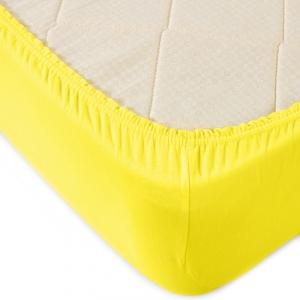 Простыня трикотажная на резинке Премиум М-2021 цвет желтый 160/200/20 см
