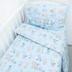 Постельное белье в детскую кроватку из перкаля 13042/1 Тедди  с простыней на резинке