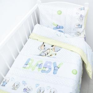 Постельное белье в детскую кроватку из перкаля 13053/1 Слоненок  с простыней на резинке