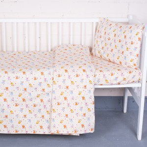 Постельное белье в детскую кроватку из перкаля 5318/2 Малыши цвет бежевый  с простыней на резинке