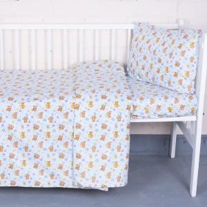 Постельное белье в детскую кроватку из перкаля 5325/1 Мишка на луне  с простыней на резинке