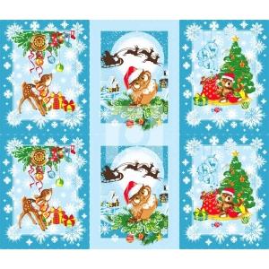 Вафельное полотно набивное 150 см 459/1 Рождественские истории цвет синий