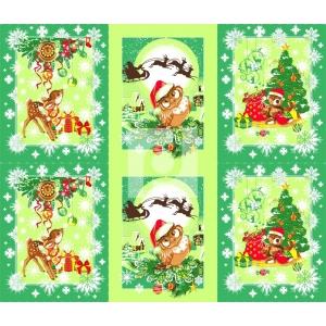 Вафельное полотно набивное 150 см 459/2 Рождественские истории цвет зеленый
