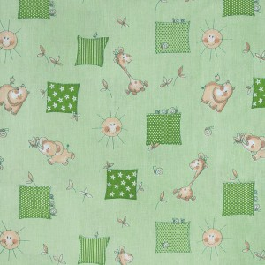 Ткань на отрез бязь ГОСТ  детская 150 см 366/2 Жирафики цвет зеленый