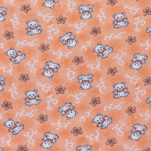 Ткань на отрез фланель 80 см 18079/1 Мишки цвет персик