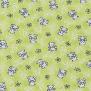 Ткань на отрез фланель 80 см 18079/2 Мишки цвет салатовый