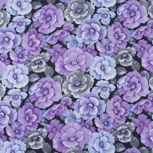 Ткань на отрез фланель 80 см 25051 Цветы на черном