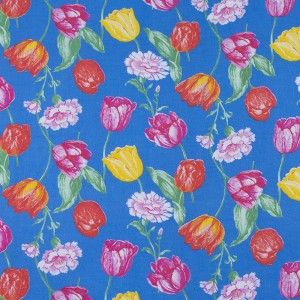Ткань на отрез фланель 80 см 20012 Тюльпаны на синем