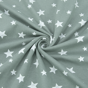 Ткань на отрез кулирка 1100-V2 Звезды цвет светлый хаки