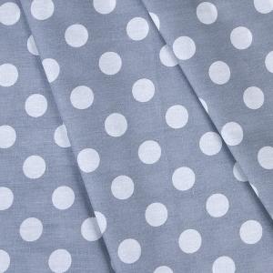 Ткань на отрез бязь плательная 150 см 1422/14 серый фон белый горох