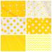 Ткань на отрез бязь плательная 150 см 1422/21 желтый фон белый крупный горох