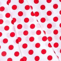 Ткань на отрез бязь плательная 150 см 1422/16А белый фон красный горох