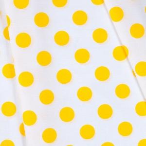 Ткань на отрез бязь плательная 150 см 1422/21А белый фон желтый горох