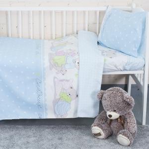 Постельное белье в детскую кроватку 1703/1 голубой поплин с простыней на резинке