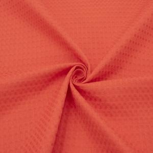 Ткань на отрез вафельное полотно гладкокрашенное 150 см 240 гр/м2 7х7 мм цвет 033 цвет коралл