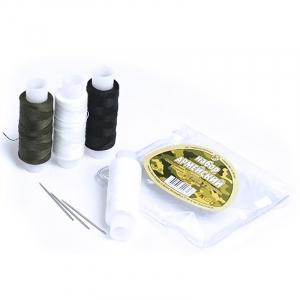 Набор нитки армированные Армейский 45ЛЛ цв белый, белый, т-хаки, черный уп 4шт+3 иголки 150м
